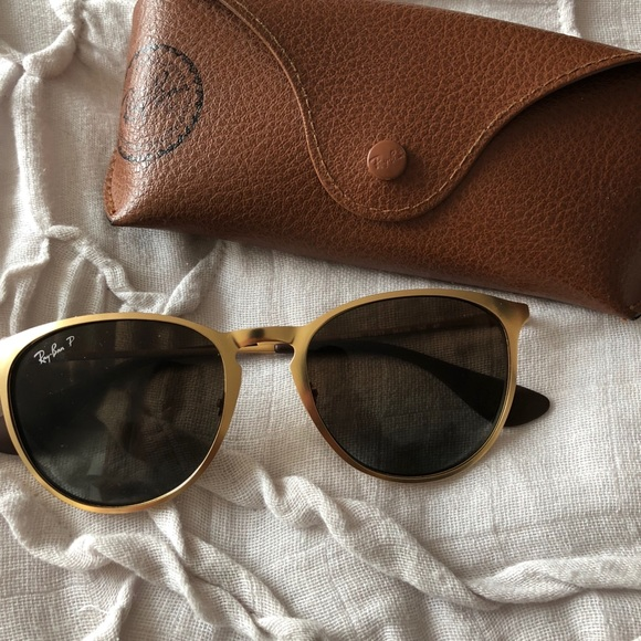 5d484ef3e27 Ray Ban Erika Metal POLARIZED Gold Sunglasses. M 5b4e128b0cb5aa9ac39392e0